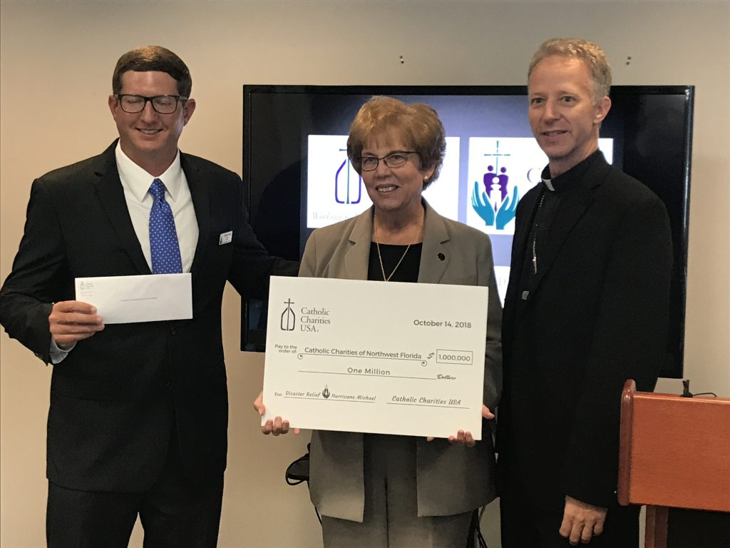 Sister Donna Markham, President and CEO of Catholic Charities USA Presents $1 Million for Hurricane Relief in Florida