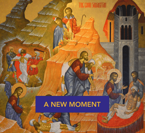 Biblical illustration, text: A New Moment
